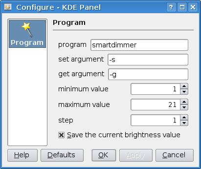 The configuration dialog